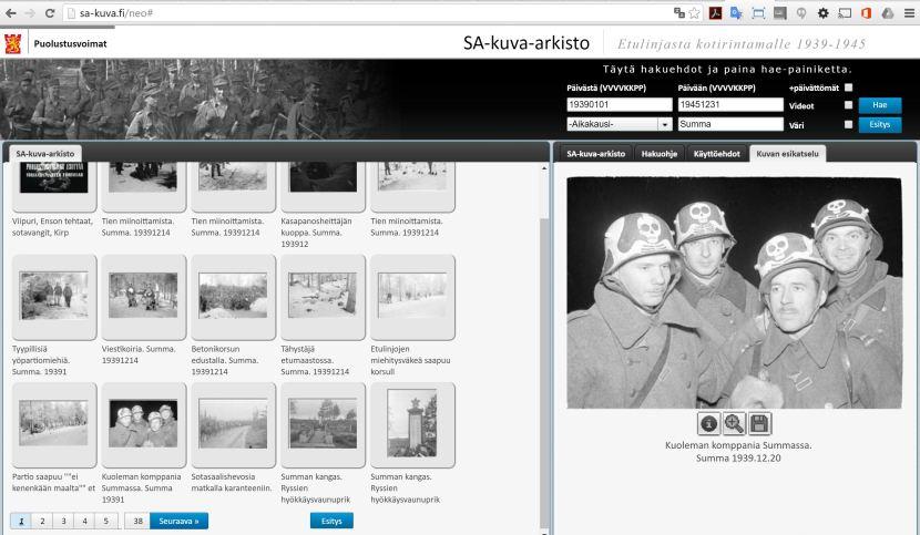 SA-kuva-arkiston käyttöliittymä